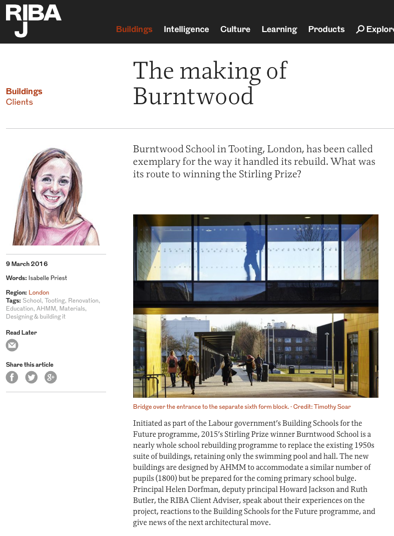 RIBA Journal – The Making Of Burntwood School